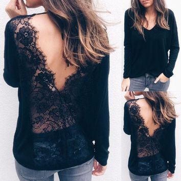 US Women Sexy Solid Lace Cold Shoulder Long Sleeve Slim Blouse Top T-Shirt