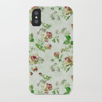Vintage Floral iPhone Case by kasseggs