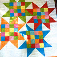 Modern Bright Quilted Lap Throw , Bed Quilt , Interlocked Star , Scrappy Quilts , Ready to Ship , Quilts for Sale , Patchwork Fiber Art