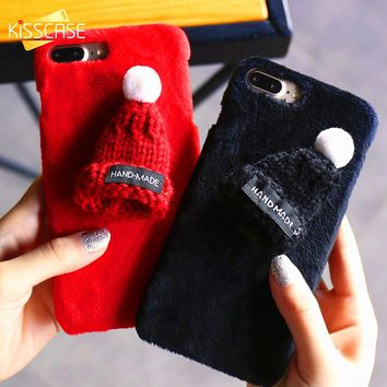 KISSCASE Winter Plush Case For iPhone 7 7 Plus 8 8 Plus Christmas Knitted Hat Phone Back Cover For iPhone 6 6s Plus Girly Covers