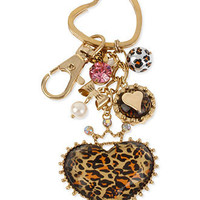 Betsey Johnson Accessories, Antique Gold-Tone Glass Crystal Leopard Heart Key Chain - Fashion Jewelry - Jewelry & Watches - Macy's