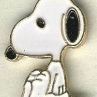 Snoopy full body button, handpainted enameled brass..peanuts cartoon character  BUTTON