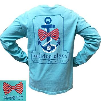 SALE Georgia Bulldogs Southern Class Anchor Comfort Colors Chalky Mint Bright Long Sleeves T Shirt