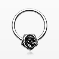 Vintage Steel Rose Blossom Captive Bead Ring