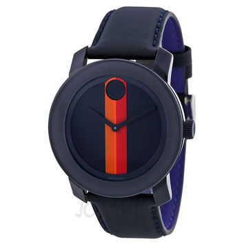 Movado Bold Navy Dial Navy Leather Strap Unisex Watch 3600231