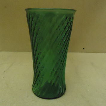 Designer Flower Vase 10 1/2in H x 5 1/2in D Green Traditional Round Curved Glass -- Used