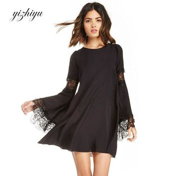 Autumn dress women clothing 2017 Europe and America new fashion casual loose lace stitching round neck gothic dresses N30F