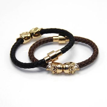 Men Twin Skull Design Bracelet