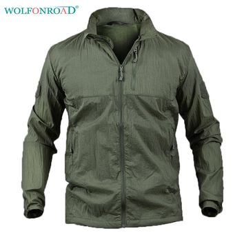 WOLFONROAD Summer Men Jacket Thin Windbreaker Camouflage Hiking Jacket Waterproof Quick Drying Military Tactical Jacket L-PLY-13
