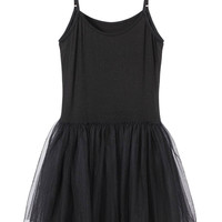 Black Spaghetti Strap Mesh Dress