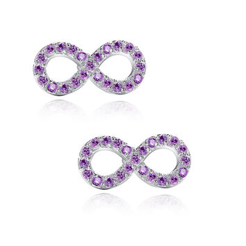 Infinity W. Purple Cubic Zirconia Stud Earrings