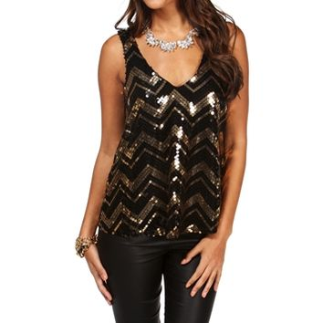 Sale-gold Chevron Sequin