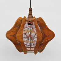 Vintage String Art Handmade Wooden Ceiling  Lamp /  Pendant light  / 70s Yugoslavia