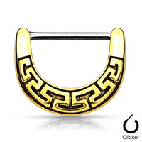 """Pair Body Jewelry 14ga (1.6mm) 1/2""""(12mm) Nipple Bar Clicker Ring or Barbell Tribal Maze Antique Gold Look 316l Surgical Steel"""