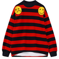 Red Striped Smiley And Letter Embellished Sweatshirt