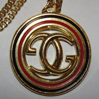 18 kt Gold Plated Gucci Monogram Black and Red Enamel Pendant and Necklace