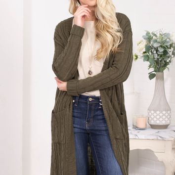 Home Spun Knit Cardigan | Olive