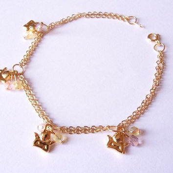 chain bracelet, charm bracelet, beaded bracelet, angel charms bracelet, gold plated bracelet by SABOTAGEandCO