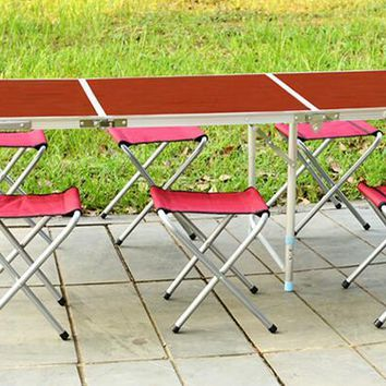 Portable Outdoor Aluminum Folding Table 6 Stools