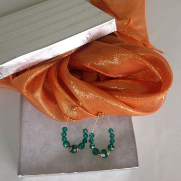 Christmas gift wrapped under 25 Gift for sending, Teal Earring Combo Gift set, Orange Silk Scarf Gift set, Ready to mail out Christmas gifts