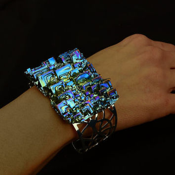 Sea of Trumpets, Bismuth Crystal Bracelet, Colorful, Iridescent, Beautiful Unique Metal Jewelry