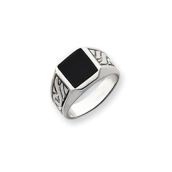 14k White Gold Men's Onyx Ring
