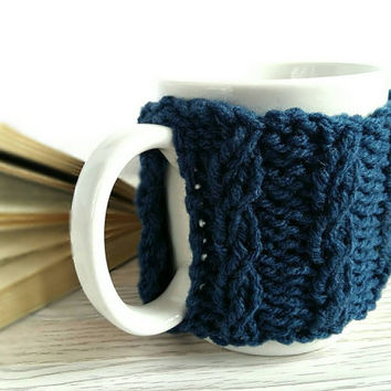 Coffee Mug Warmer – Knit Coffee Cozy – Cable Knit Coffee Mug Cozy – Coffee Cup Warmer – Coffee Cup Cozy - Navy Blue Cozy – Gift for Friend