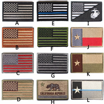 Tactical American USA Thin blue line law enforcement Texas Lonely Star Marine Corps Usmc Black Ops Flag Embroidered Patch