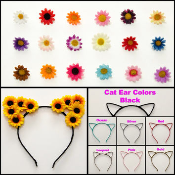 Customizable Cat Ear Headband, Floral Cat Ears, Burning Man Clothing, Beyond Wonderland, Nocturnal Wonderland, Fun Fun Fun Fest, Ezoo, PLUR