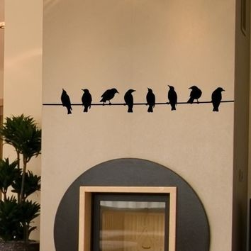 Birds on Wire Wall Decal - Vinyl Wall Stickers Art Graphics