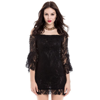 Black Flared Sleeve Lace Mini Dress
