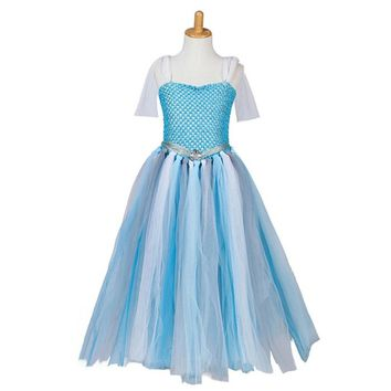 CRAZY POMELO Blue Snow Queen Princess Crochet Costume Prom Dress (Ages 1-11Y)