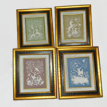 Franklin Mint-  Nature's 4 Seasons - Parian Porcelain Wall Art -1977 RARE Retired - Set of 4 - Spring Summer Fall Winter - Wedgwood Style