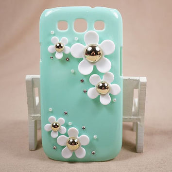 Bling rhinestone & pearl daisy flowers for SAMSUNG Galaxy SIII s3 I9300 hard cover, s2 9100, note 1, note 2, Mint Green Case