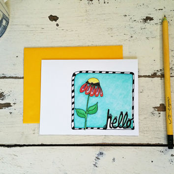 Thinking of You Card - Hello Stationery Set of 12 Cards - Illustrated Flower - Hand Lettering - Hello Card - Just Because - 201501061252