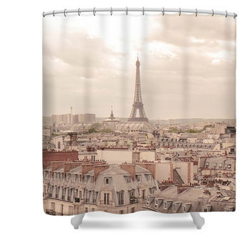 Paris Eiffel Tower Polyester Fabric Shower Curtain