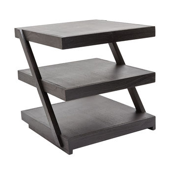 Lazy Susan Stacked Black Teak Side Table - 784060
