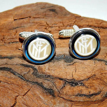 F.C. Internazionale Milano cufflinks, Italian football club, F.C. Internazionale simbol, F.C. Internazionale patch, Inter FC team cufflinks