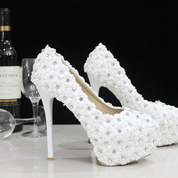 Flower girl heels Crystal Wedding Shoes Pumps