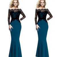 Off Shoulder Lace Patchwork Mermaid Evening Dress