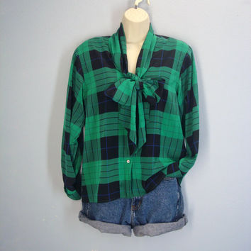 1980s Silky Ascot Blouse / Green Plaid Blouse / Silky Plaid Shirt