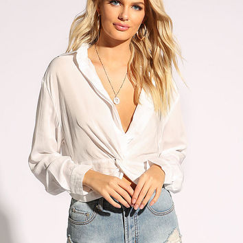 White Plunge Twisted Crop Top Blouse