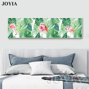 Home Decor Modern Picture Green Tropical Leaves Wall Art Poster Watercolor Flamingos Canvas Print Large Painting For Bedroom