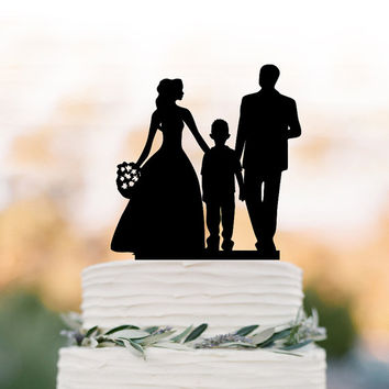 Family Wedding Cake topper with boy, bride and groom silhouette wedding cake toppers, funny wedding cake toppers with kid (child)