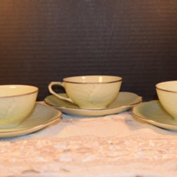 Christmasinjuly Seyei Cup & Saucers Set of 3 Vintage Japan Sage Leaf Cups Saucers Set Platinum Trim #316 Wedding Gift Discontinued China Rep