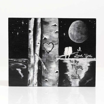 Personalized Wedding Gift I Love You to the Moon Painting Bird Black and White Love Birds Painting Personalized Anniversary Gift for Couple
