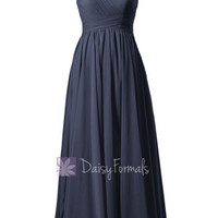 Navy Bridal Party Dress Long Navy Chiffon Maternity Dress (BM351LEM)