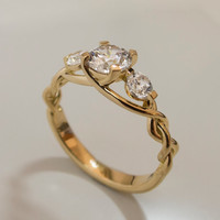 Braided Engagement Ring - 14K Gold and Diamond engagement ring,diamond ring, engagement ring, celtic ring, stackable ring, three stone ring