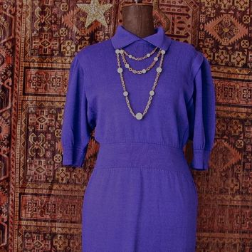Vintage Dress 1970's St. John for Saks Purple Knit Dress size Small/Medium