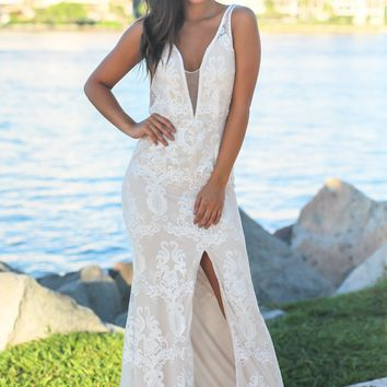 Ivory Embroidered Maxi Dress with Mesh Detail
